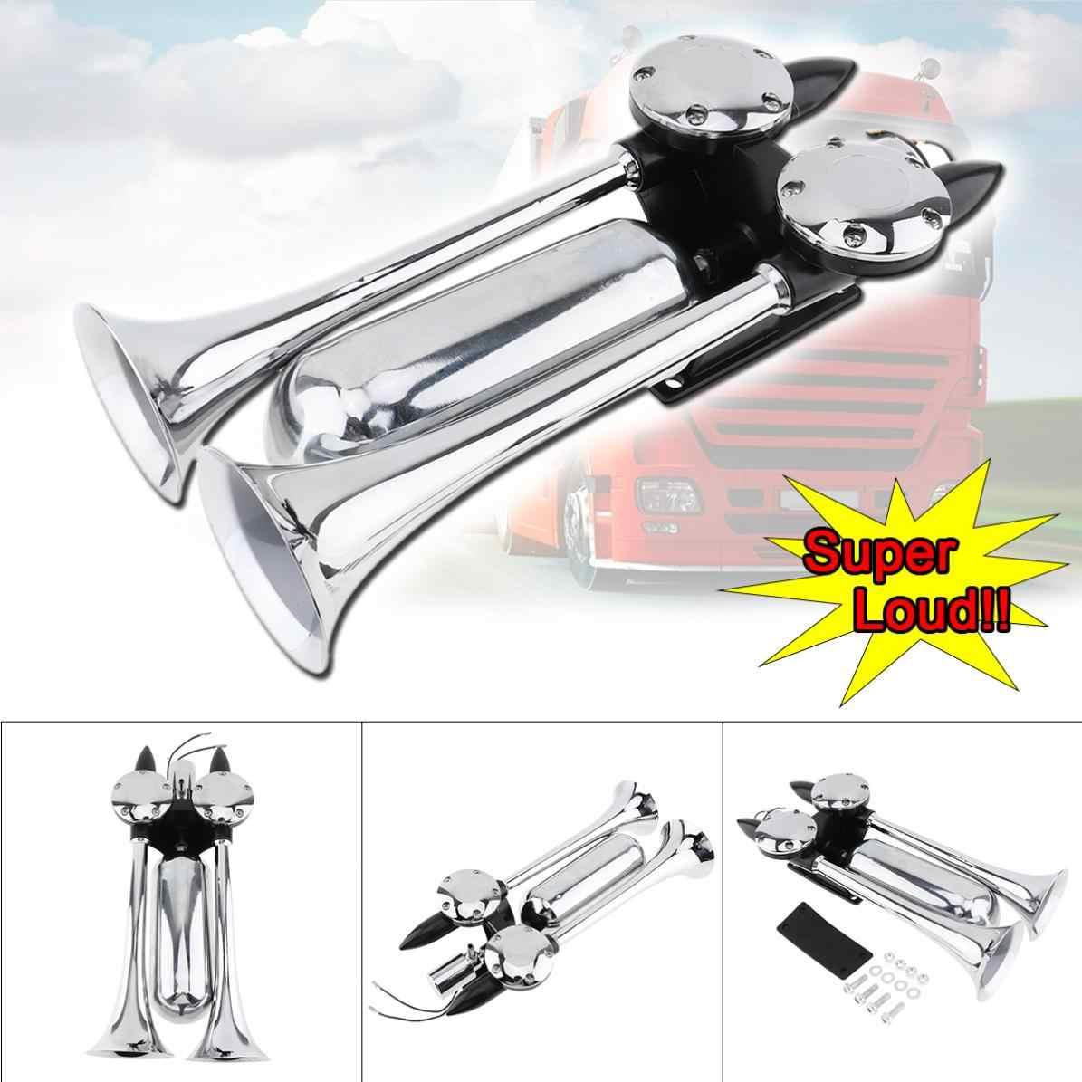 Universal 12 ~ 24 V 100 ~ 115 DB Super fuerte ruido del compresor de aire de doble trompeta cuerno de aire para coche del barco del camión del tren del vehículo