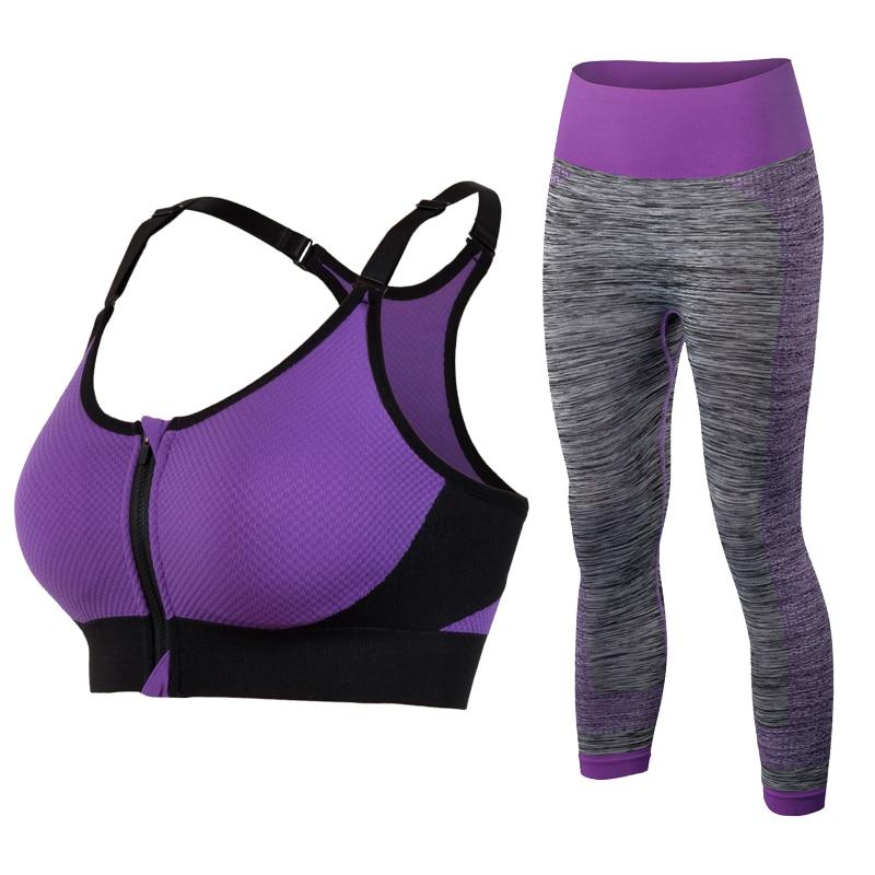 Nuove tute da donna Reggiseno sportivo Yoga Pantaloni senza maniche Zipper Reggiseno Leggings Set da palestra di fitness femminile in esecuzione tuta sportiva Pantaloni Yoga