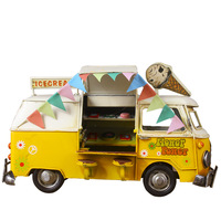 Ice Cream Fast Food Iron Bus Retro Bus Children Toy Car Model Metal Crafts Static Model Boys Toys Birthday Best Gifts