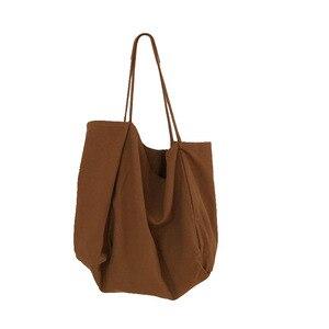 Image 2 - JIAOO Bolso de lona reutilizable para mujer, bolsas de la compra Bolso grande, bolso de mano femenino de alta capacidad, informal, bandolera de Color sólido