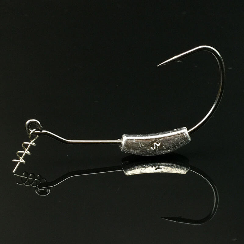 20pcs Offset Hooks Weighted Wide Gap Weedless Soft Lures Bait Worm Pike Perch