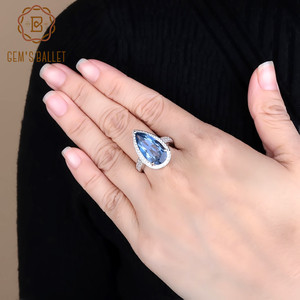 Image 1 - Mücevher bale 7.89Ct doğal Iolite mavi mistik kuvars yüzük 925 ayar gümüş taş su damlası yüzük kadın için ince takı
