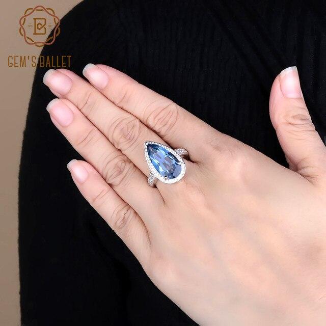 Mücevher bale 7.89Ct doğal Iolite mavi mistik kuvars yüzük 925 ayar gümüş taş su damlası yüzük kadın için ince takı