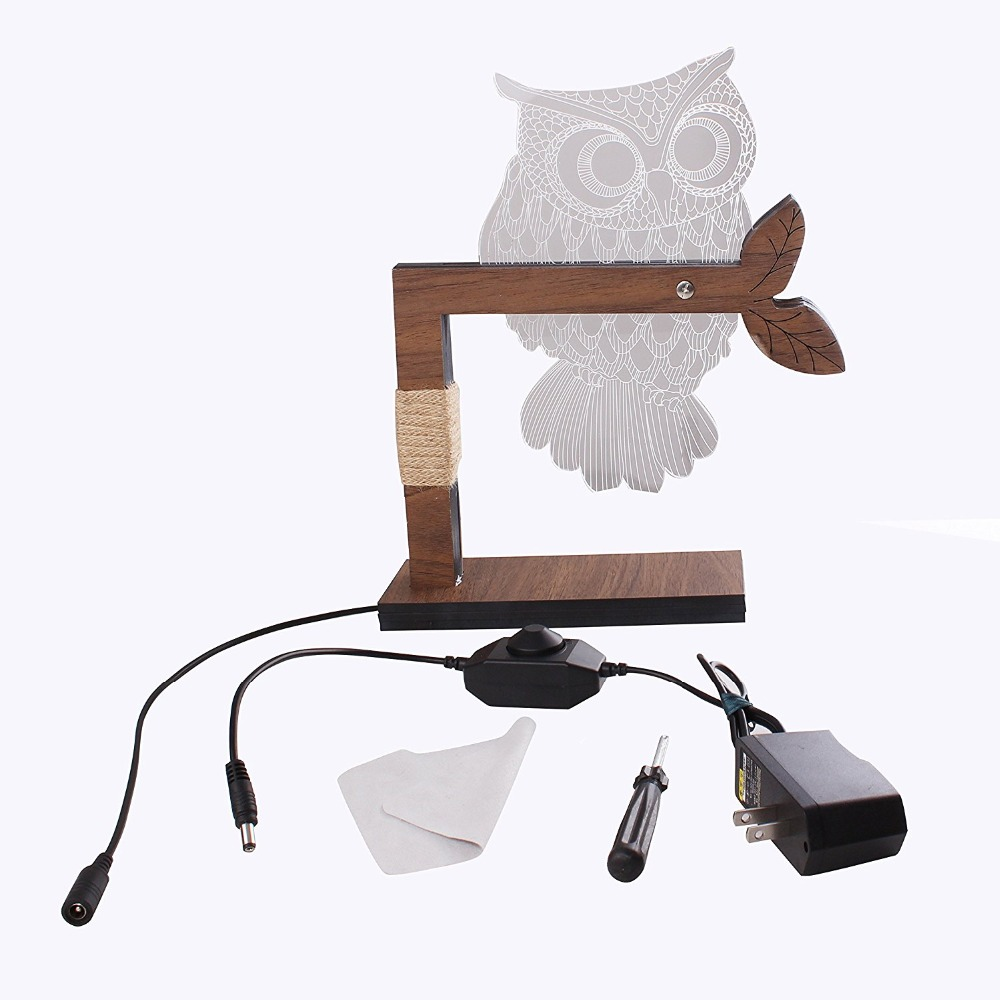 Litake Led Night Lights 3D Lamp Owl Shape Night Light 3D Lights Children's night light Visual Illusion Mood Lamp US/EU Plug three dimensional 3d visual reading lights wood acrylic clear small lamp button type led stereo night light folding book lights