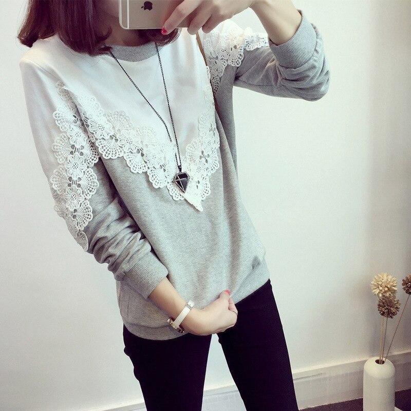 Flower Lace Cotton 5XL Plus Size 2020 New Autumn Korean Women Hoodie Patchwork Maxi Sweatshirt Female Loose Long Sleeve Hoodies
