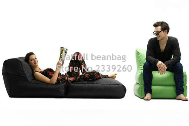 COVER ONLY,no Filler  Black Folded Up Design Bean Bag Chair,adults Folding  Seat Sofa Beds, 2 In 1 Multifunction Portable Sofa