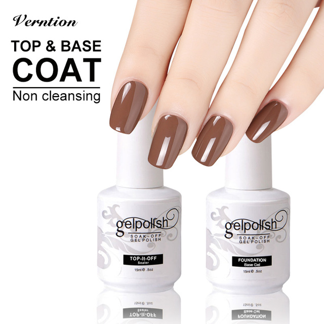 Verntion 2017 Brand New Nail Gel Top Coat + Base Coat Foundation For ...