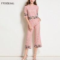 FTGSDLONG Korean Fashion 2 Piece Lace Set Elegant Pink Tweed Set Women Casual Pants Suits Embroidery O Neck Top + Mid Calf Pants