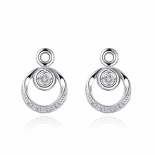 Free Shipping Best selling 925 sterling silver jewelry European and American fashion generous round hollow zircon