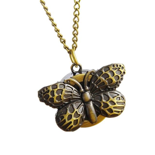 Womens Quartz Pocket Watch 1 PC Vintage Watch Necklace Bronze Butterfly Design U