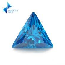 3x3 ~ 10х10 мм треугольная форма 5a темно сеаблюэ камни из фианита