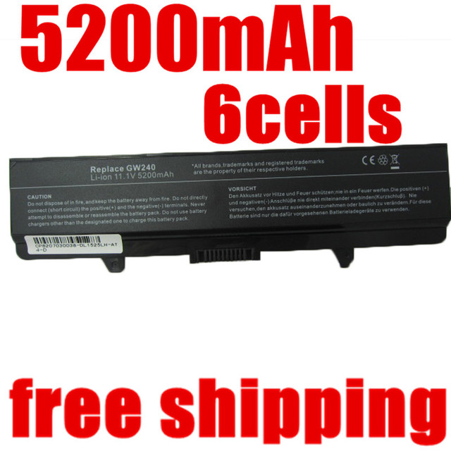 5200 mAh bateria do portátil para Dell Inspiron 1525 1526 1545 1545 Vostro 500 CR693 D608H GP252 GP952 GW240 GW241 WK380 WK381 WP193