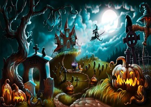 Image 5 - Capisco Foto Achtergrond Halloween Kasteel Fotografieachtergrond Heks Kraaien Pompoen Maan Begraafplaats Cartoon Photostudio Props