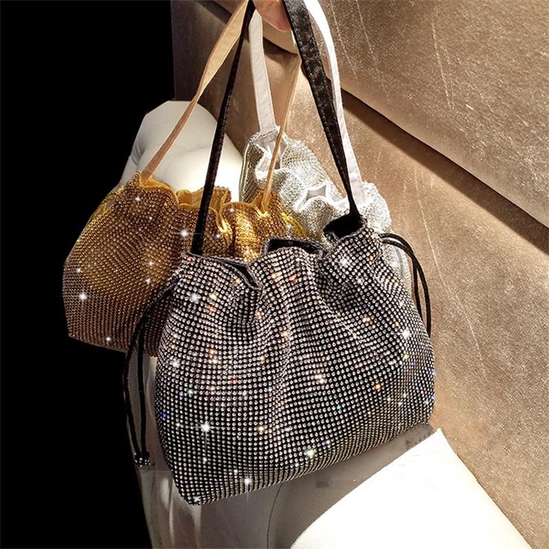 2019 New Female Diamond Handbag Vintage Crystal Design Evening Bag Wedding Party Bride Clutch Bag Purse Rhinestone Shoulder Bags