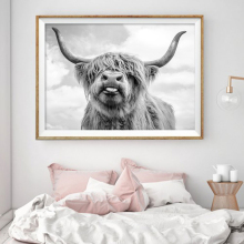 Nordic Decoration Highland Cow Cattle Wall Art Lerret Plakat og Print Animal Canvas Painting Bilde for Living Room Home Decor
