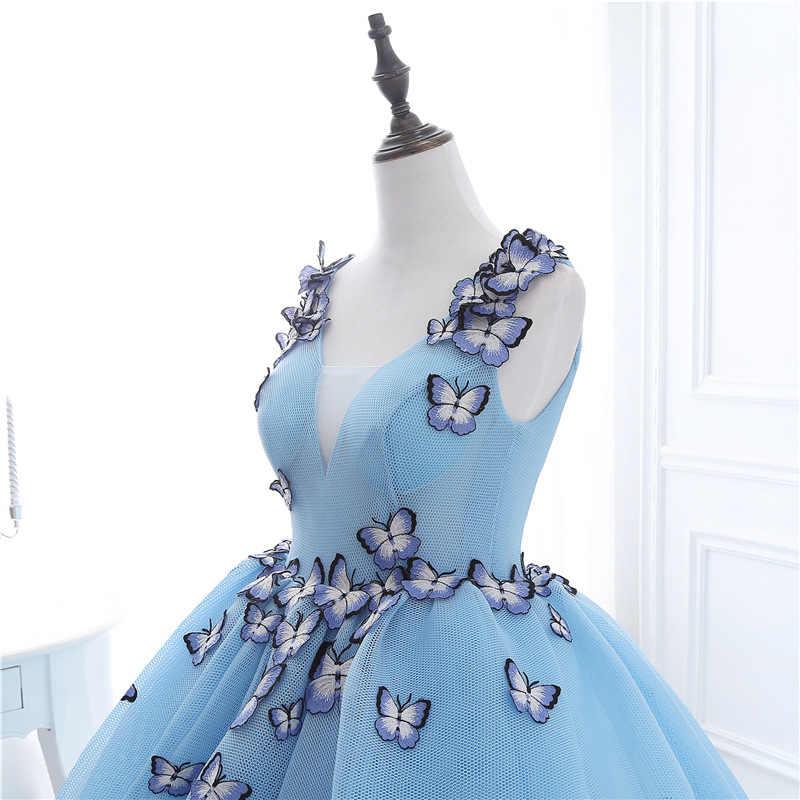 فستان سهرة جديد برقبة على شكل حرف V فستان سهرة 2020 مزين بفراشات فساتين سهرة عربية سعودية قفطان فساتين حفلات رخيصة