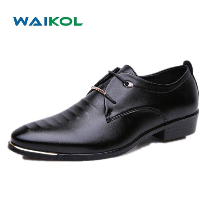 Waikol Hot Sale New Oxford Shoes for Men Fashion Men Lace Up Shoes Spring Autumn Men Casual Flat Patent PU Leather Men Shoes стоимость