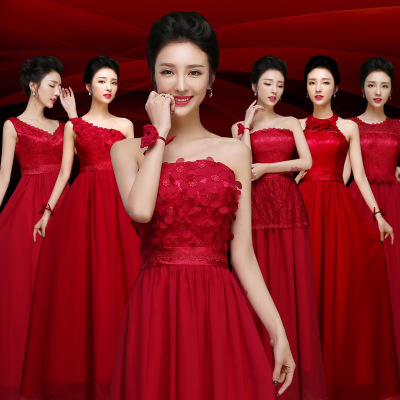 LC074M Wine Red Gown China Coral Colored Bridesmaid Dresses Slim ...