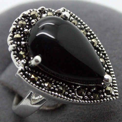แฟชั่น 15X23 มม. สีเขียว Jades Marcasite 925 แหวนเงินแท้ 7/8/9/10 หยก