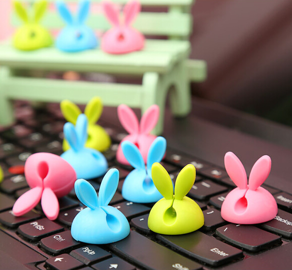 4Y4A 6pcsLot candy colored rabbit ears lovely finishing