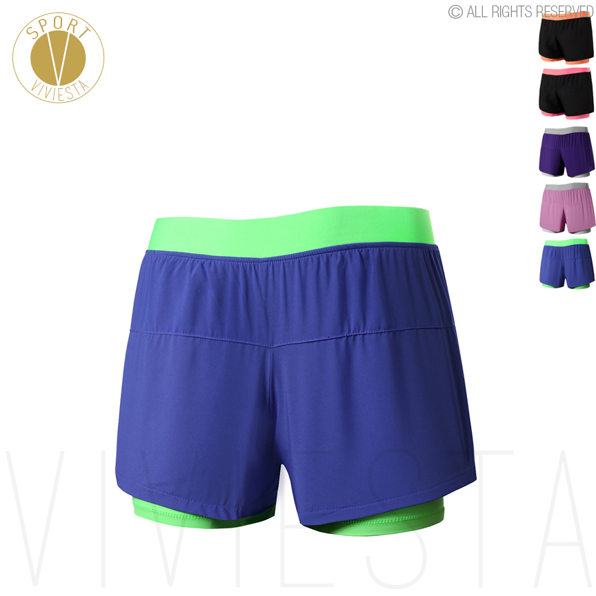Professional 2-in-1 Running Sports Shorts - Womens Run Marathon Jogging Gym Training Fitness Exercise Elastic Dry Fit Shorts