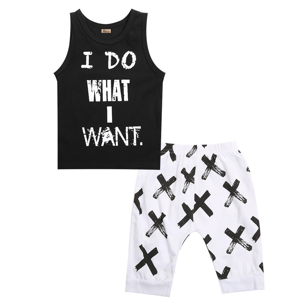 Black t shirt white cross - 2pcs Summer Newborn Toddler Kids Baby Boys Girls Black T Shirt Tops White Cross Print Pants Outfits Clothes Set In Clothing Sets From Mother Kids On