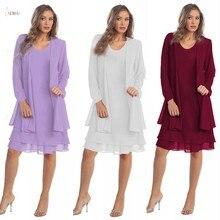 فستان أم العروس من الشيفون باللون العنابي مقاس كبير 2020 بأكمام طويلة لحفلات الزفاف صورة حقيقية