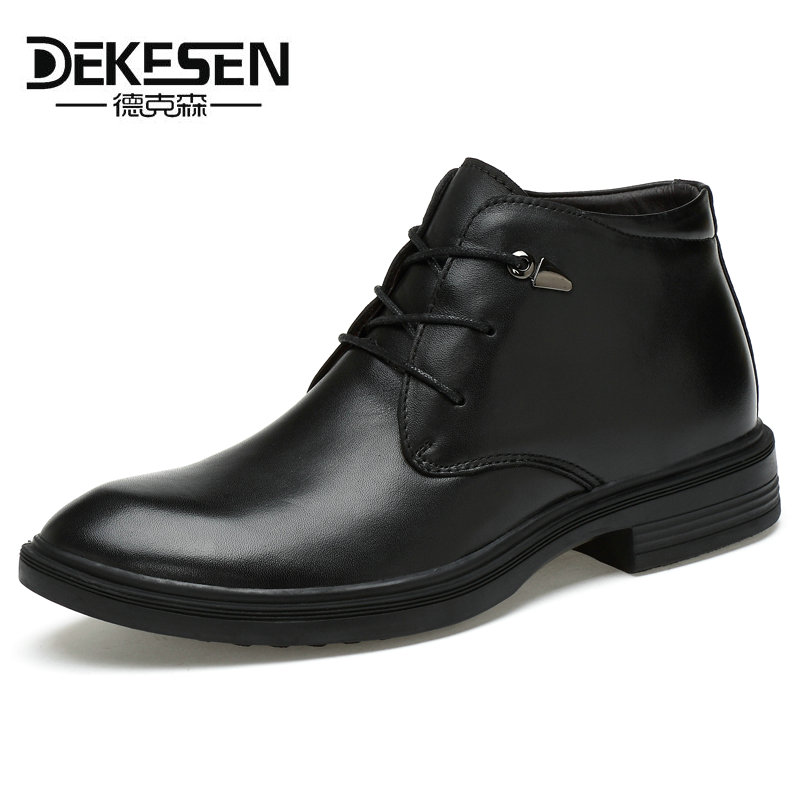 DEKESEN Men Boots Genuine Leather Black Pointed Toe luxury fashion classic business office formal Ankle boots men shoes male