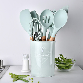 9/10/12pcs Cooking Tools Set Premium Silicone Kitchen Cooking Utensils Set with Storage Box Turner Tongs Spatula Soup Spoon 3