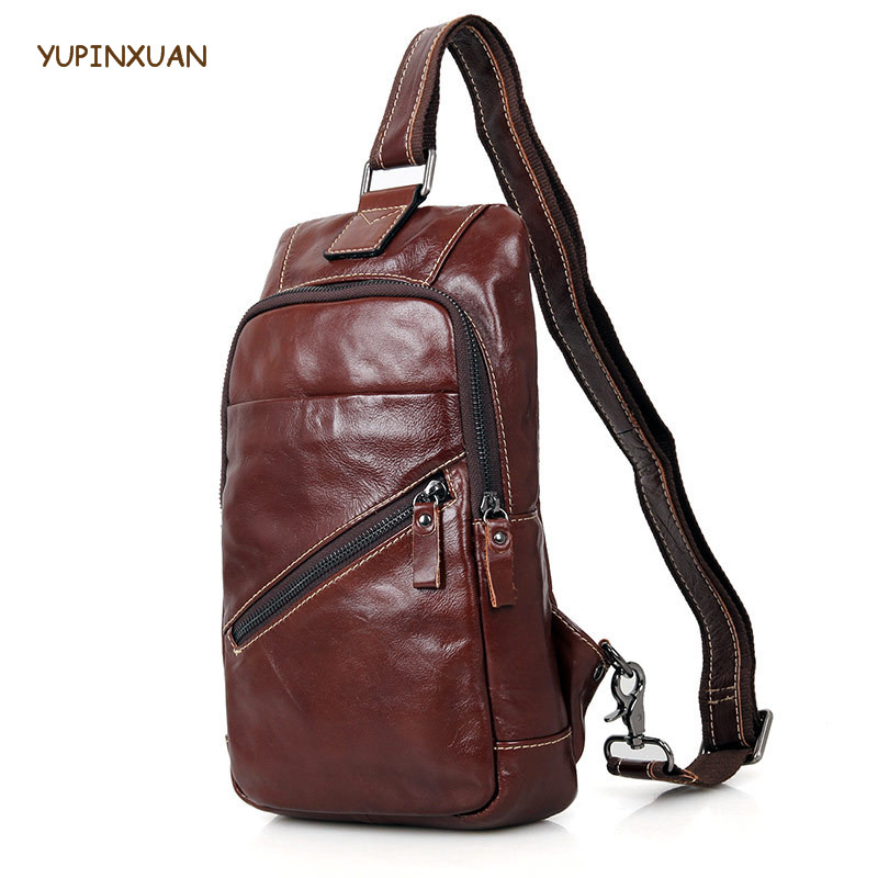 YUPINXUAN Vintage Mens Chest Packs Cow Leather Oil Wax Single Shoulder Strap Back Bag Genuine Leather Travel Bags Chest Bag Cool