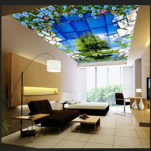 Blau blumen blauen himmel zenith große mural 3d tapete schlafzimmer ...
