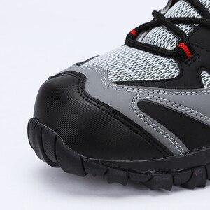 Image 2 - Scarpe di Sicurezza di Cuoio degli uomini Con Puntale In Acciaio stivali Da Lavoro Allaperto Peso Leggero Scarpe Da Lavoro