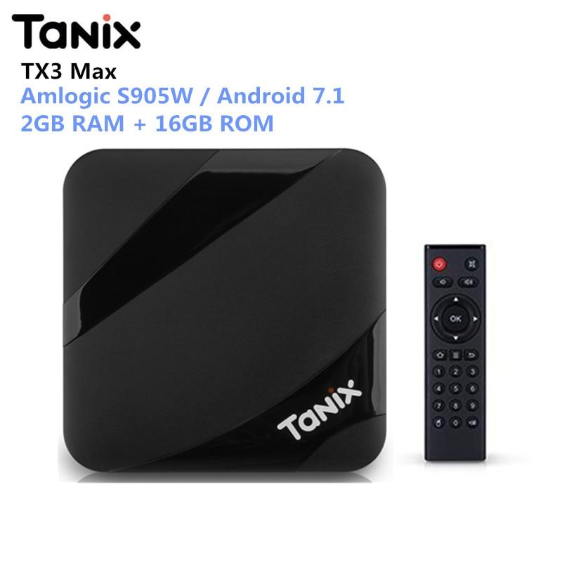 Tanix TX3 Max Smart TV Box Android 7.1 Amlogic S905W 2 GB di RAM 16 GB di ROM Set Top Box 2.4G Wifi Bluetooth Media Player