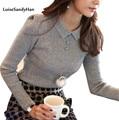 2016 Женщины Пуловер Женский Свитер Мода Осень Зима Теплая Шеи Случайные Свободные Трикотажные Топы