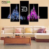 PENGDA Wall Canvas Art Print Painting Wall Picture 5 Panel Beautiful Castles Night Landscape For Home