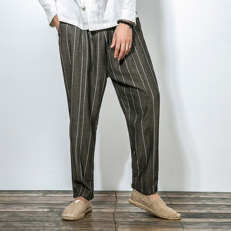f26536a6980 INCERUN Mens Pants 2018 Summer Elastic Waist Stripe Pockets Fashion Harem  Pants Casual Korean Fashion Trousers Men ...