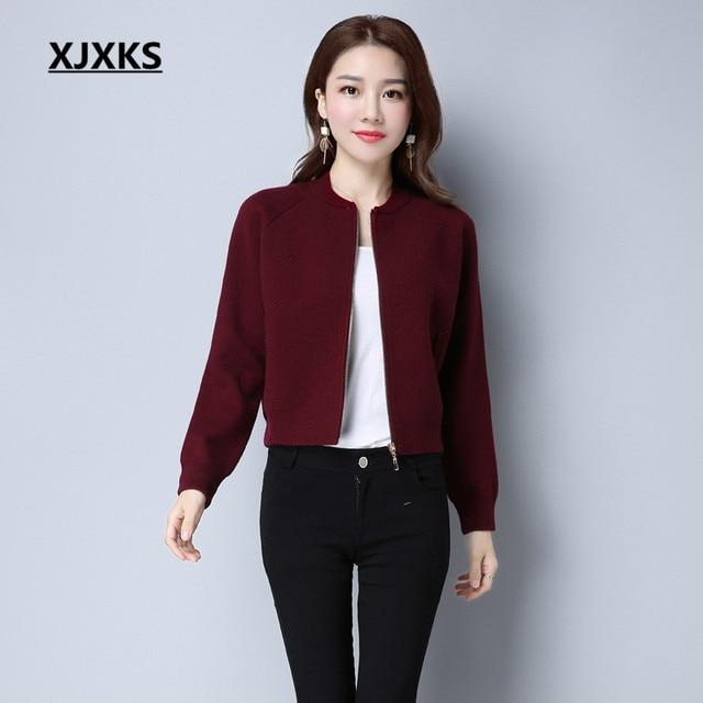 XJXKS Ladies Clothing Beautiful Streetwear Women Cardigans Sweater Coat  Simple Zipper Pockets Casual Short Sweaters Coats 1dadd7e41