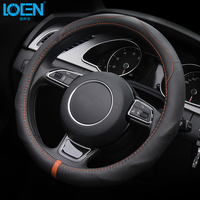 Hot D Ring Genuine Leather Steering Wheel Cover For VW Golf 6 Golf 7 GTi Mk7