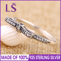 LS High Quality 100 Real 925 Sterling Silver SPARKLING BOW Ring For Women DIY Fashion Rings