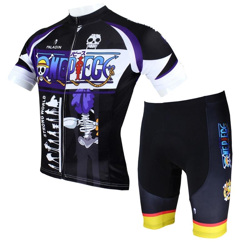 ФОТО Men Cycling Jersey Anime One Piece Brook Cycling Clothing Men Bike Short Sleeve Cycling Jersey Set X072
