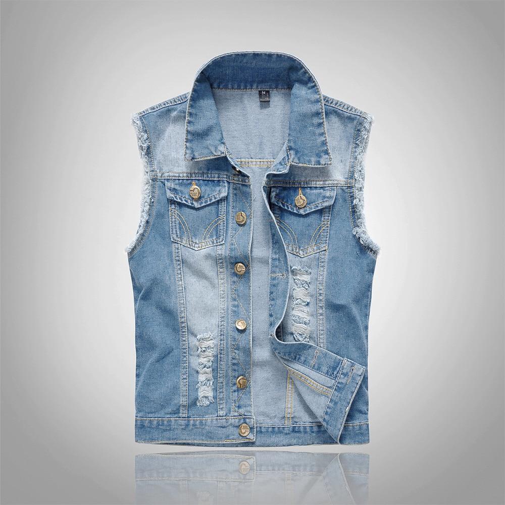 2018 algodón Jeans chaqueta sin mangas hombres más tamaño 6XL azul oscuro Denim Jeans chaleco hombres vaquero chaleco hombre chaquetas
