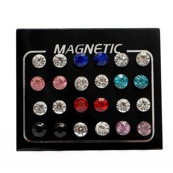 Fashion 12 Pair lot 4 5 6 7mm Round Crystal Rhinestone Magnet Stud Earring Puck Womens.jpg 350x350 - Fashion 12 Pair/lot 4/5/6/7mm Round Crystal Rhinestone Magnet Stud Earring Puck Womens Mens Magnetic Fake Ear Plug Jewelry
