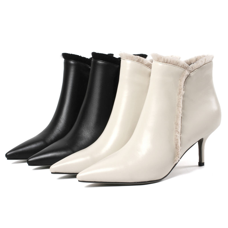 black Fur Chaussures Élégant Stilettos Dames Moto Bout Beige Fur Hiver Talons Pointu Courts With Fur Boot Femme Sexy Hauts Cheville Bottes beige Zipper Fanyuan Without FRwBx4q5