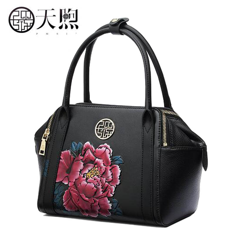 Hot new fashion Peony embossed luxury handbags women bags designer Genuine Leather women tote handbags shoulder Bags yanxi new 2016 new hot women patchwork good pu leather tote fashion versatile zipper handbags us dollar designer shoulder bags