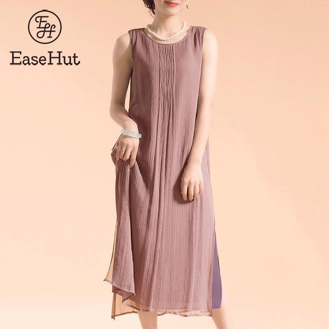 bbecac28f5b EaseHut Plus Size Summer Sundress for Women 2019 Vintage Sleeveless Baggy Cotton  Linen Dresses vestidos de