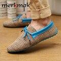 Горячая продажа мужской обуви весна лето дышащий мода ткачество Тканые мужчины случайные плоские туфли, босоножки, мокасины удобные мокасины