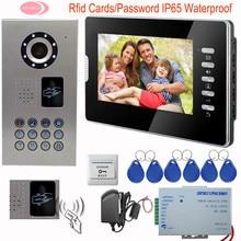 "SUNFLOWERVDP 7"" Video Intercom For The Apartment Electronic Doorkeeper Inductive Card Video Doorman House IP65 Waterproof Kit"