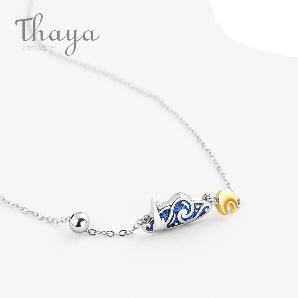Thaya s925 Silver Emerald Van Gogh's Necklace Glitter Sky Gold Moon Star Pendant Necklace Bohemian Vintage Jewelry for Women(China)