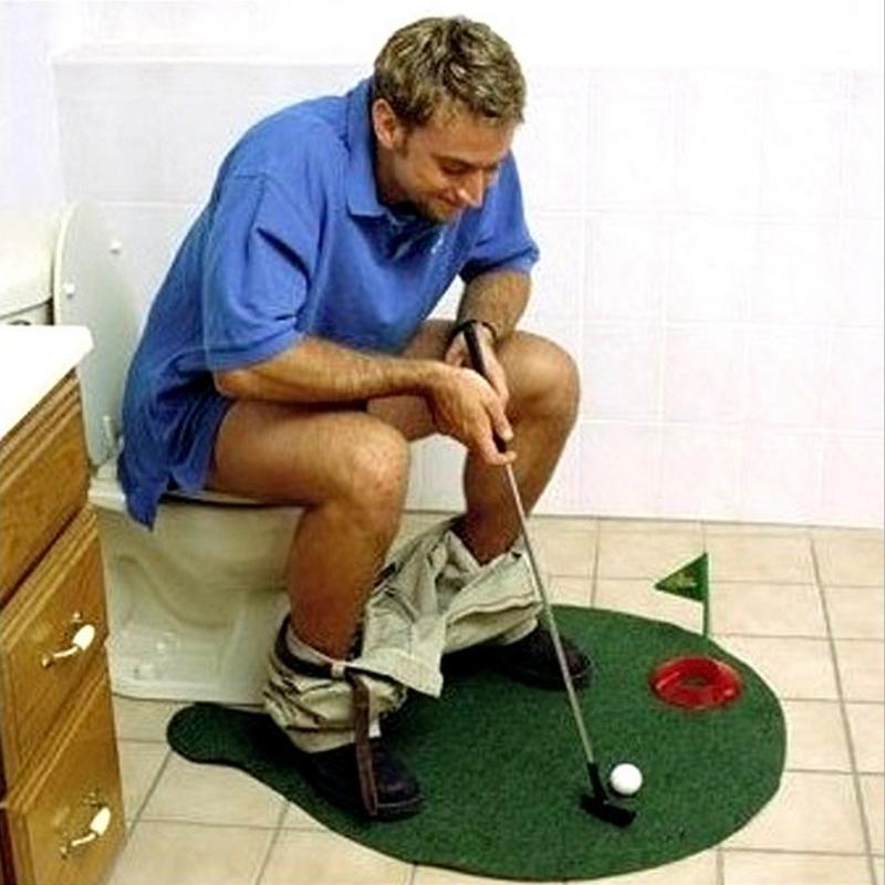 Funny Toilet Bathroom Mini Golf Mat Set Potty Putter Putting Game Bathroom Toy Men And Women Practical Jokes Novelty Gift
