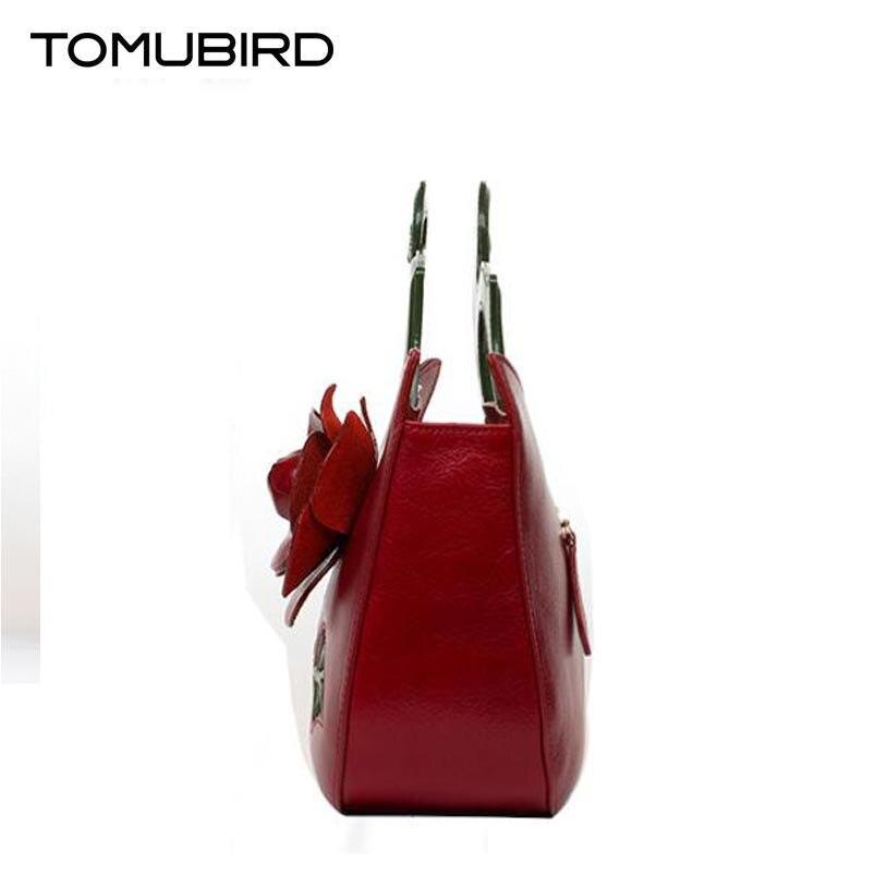 Designer Inspiriert Leder Neue Handgefertigte Überlegene red Satchel Handtaschen Damen brown Black Tote Rindsleder Tomubird Blume CtZqw